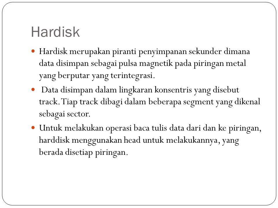 Hardisk Hardisk merupakan piranti penyimpanan sekunder dimana data disimpan sebagai pulsa magnetik pada piringan metal yang berputar yang terintegrasi