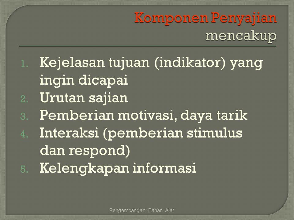 1. Kejelasan tujuan (indikator) yang ingin dicapai 2. Urutan sajian 3. Pemberian motivasi, daya tarik 4. Interaksi (pemberian stimulus dan respond) 5.