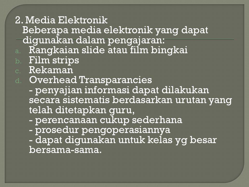 2. Media Elektronik Beberapa media elektronik yang dapat digunakan dalam pengajaran: a. Rangkaian slide atau film bingkai b. Film strips c. Rekaman d.