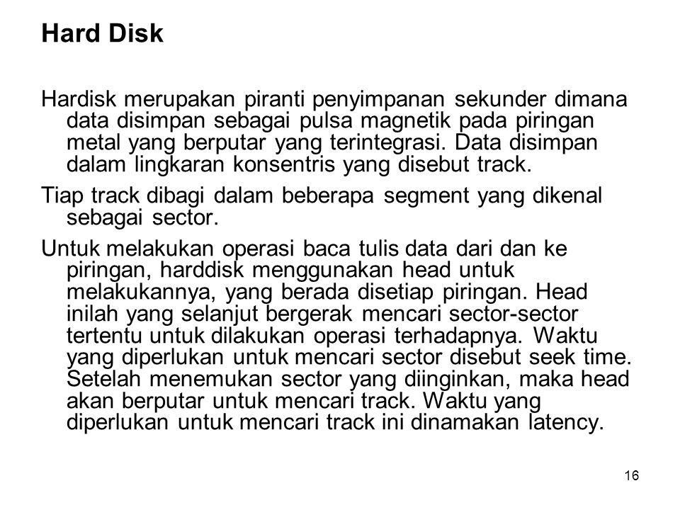 16 Hard Disk Hardisk merupakan piranti penyimpanan sekunder dimana data disimpan sebagai pulsa magnetik pada piringan metal yang berputar yang terinte