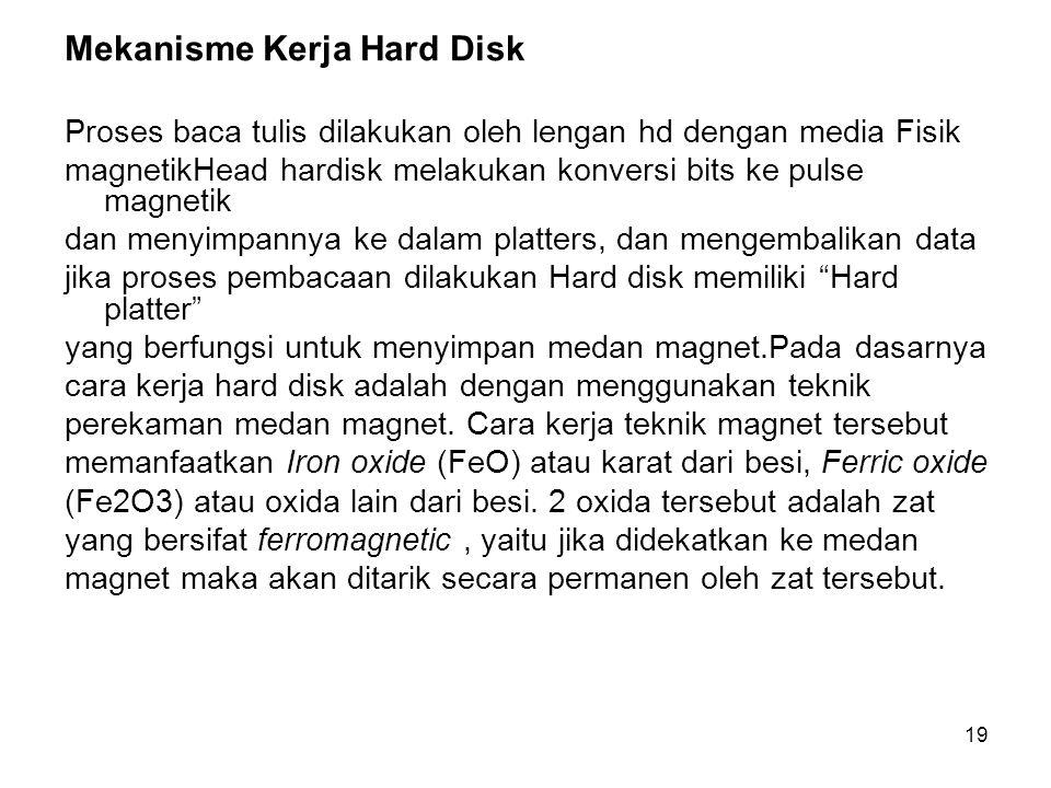 19 Mekanisme Kerja Hard Disk Proses baca tulis dilakukan oleh lengan hd dengan media Fisik magnetikHead hardisk melakukan konversi bits ke pulse magne
