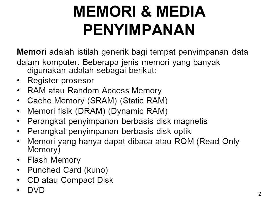 3 MEMORI (Memory) Memori berfungsi menyimpan sistim aplikasi, sistem pengendalian, dan data yang sedang beroperasi atau diolah.
