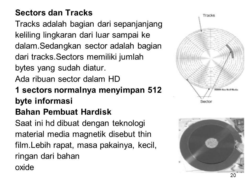 20 Sectors dan Tracks Tracks adalah bagian dari sepanjanjang keliling lingkaran dari luar sampai ke dalam.Sedangkan sector adalah bagian dari tracks.S