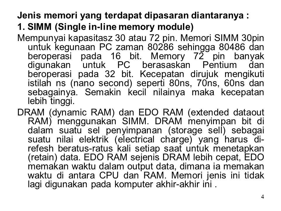 4 Jenis memori yang terdapat dipasaran diantaranya : 1. SIMM (Single in-line memory module) Mempunyai kapasitasz 30 atau 72 pin. Memori SIMM 30pin unt