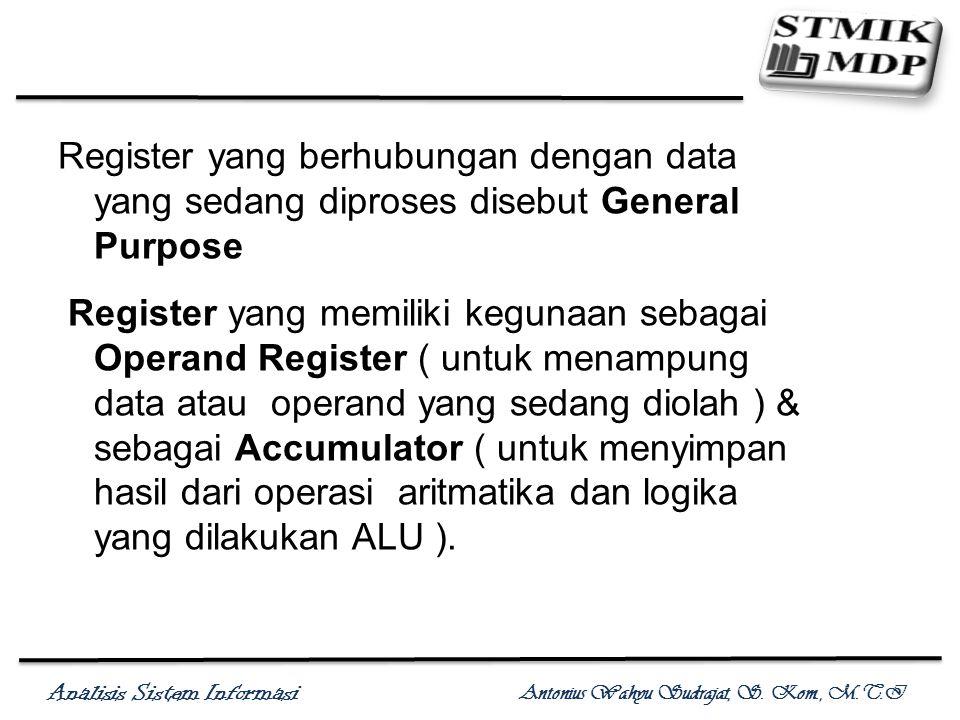 Analisis Sistem Informasi Antonius Wahyu Sudrajat, S. Kom., M.T.I Register yang berhubungan dengan data yang sedang diproses disebut General Purpose R