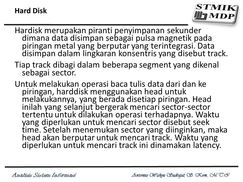 Analisis Sistem Informasi Antonius Wahyu Sudrajat, S. Kom., M.T.I Hard Disk Hardisk merupakan piranti penyimpanan sekunder dimana data disimpan sebaga