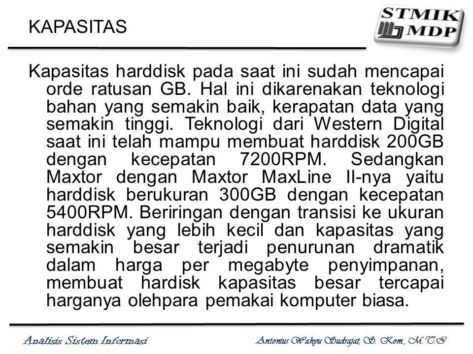 Analisis Sistem Informasi Antonius Wahyu Sudrajat, S. Kom., M.T.I KAPASITAS Kapasitas harddisk pada saat ini sudah mencapai orde ratusan GB. Hal ini d