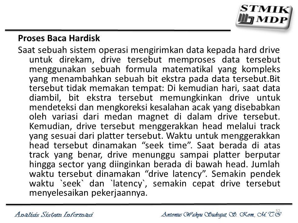 Analisis Sistem Informasi Antonius Wahyu Sudrajat, S. Kom., M.T.I 32 Proses Baca Hardisk Saat sebuah sistem operasi mengirimkan data kepada hard drive