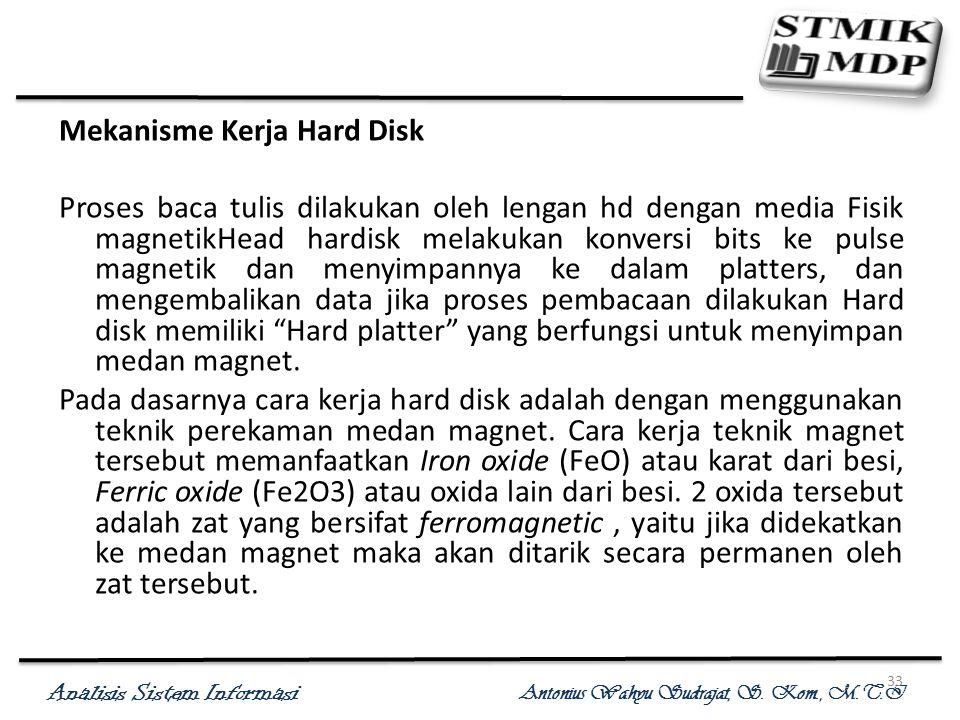 Analisis Sistem Informasi Antonius Wahyu Sudrajat, S. Kom., M.T.I 33 Mekanisme Kerja Hard Disk Proses baca tulis dilakukan oleh lengan hd dengan media