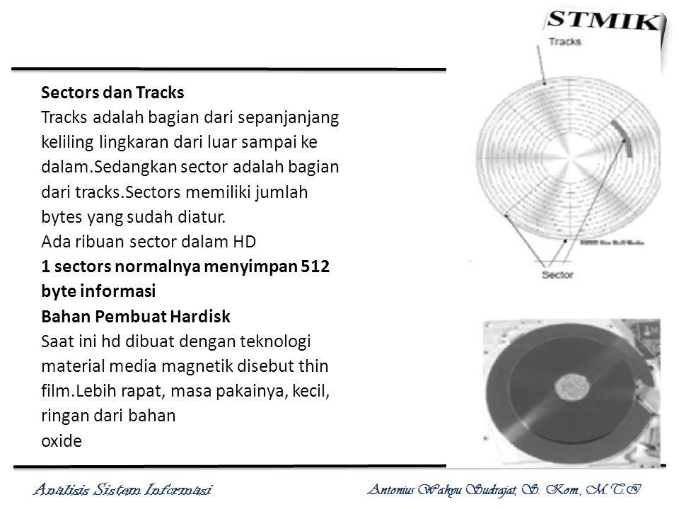 Analisis Sistem Informasi Antonius Wahyu Sudrajat, S. Kom., M.T.I Sectors dan Tracks Tracks adalah bagian dari sepanjanjang keliling lingkaran dari lu