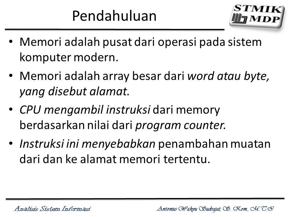 Analisis Sistem Informasi Antonius Wahyu Sudrajat, S. Kom., M.T.I Pendahuluan Memori adalah pusat dari operasi pada sistem komputer modern. Memori ada