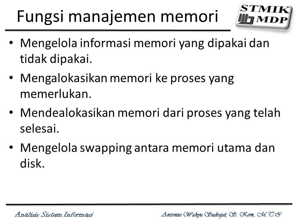 Analisis Sistem Informasi Antonius Wahyu Sudrajat, S. Kom., M.T.I Fungsi manajemen memori Mengelola informasi memori yang dipakai dan tidak dipakai. M
