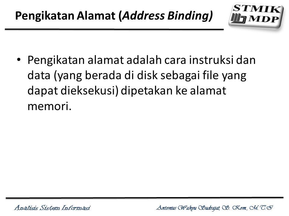 Analisis Sistem Informasi Antonius Wahyu Sudrajat, S. Kom., M.T.I Pengikatan Alamat (Address Binding) Pengikatan alamat adalah cara instruksi dan data