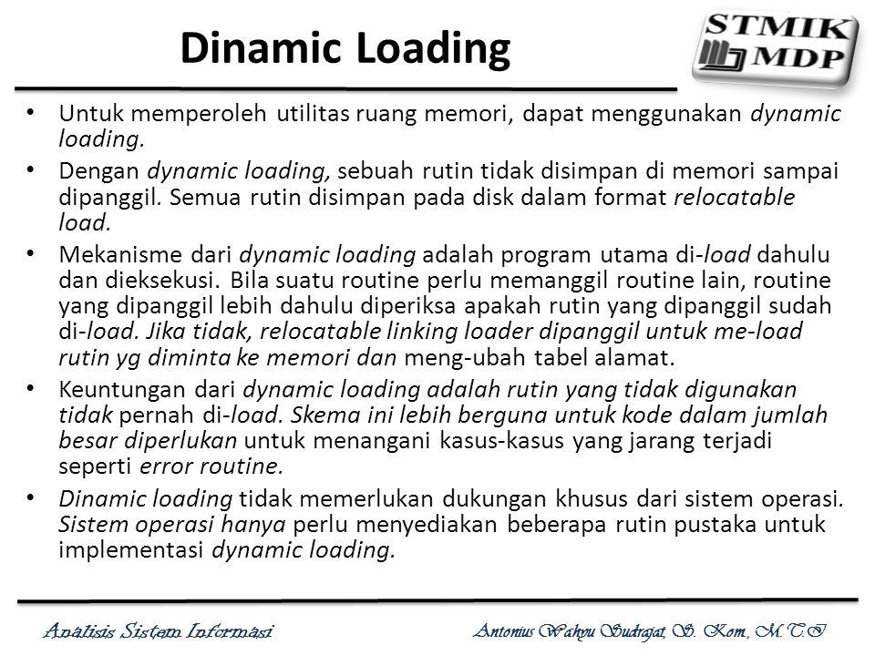 Analisis Sistem Informasi Antonius Wahyu Sudrajat, S. Kom., M.T.I Dinamic Loading Untuk memperoleh utilitas ruang memori, dapat menggunakan dynamic lo