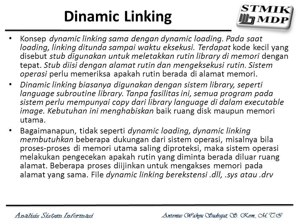 Analisis Sistem Informasi Antonius Wahyu Sudrajat, S. Kom., M.T.I Dinamic Linking Konsep dynamic linking sama dengan dynamic loading. Pada saat loadin