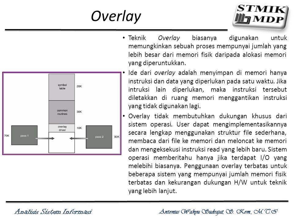 Analisis Sistem Informasi Antonius Wahyu Sudrajat, S. Kom., M.T.I Overlay Teknik Overlay biasanya digunakan untuk memungkinkan sebuah proses mempunyai