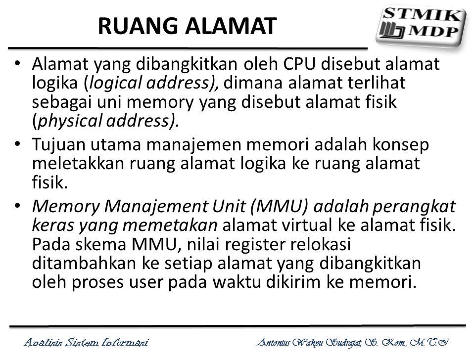 Analisis Sistem Informasi Antonius Wahyu Sudrajat, S. Kom., M.T.I RUANG ALAMAT Alamat yang dibangkitkan oleh CPU disebut alamat logika (logical addres