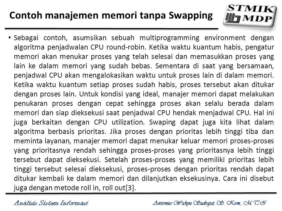 Analisis Sistem Informasi Antonius Wahyu Sudrajat, S. Kom., M.T.I Contoh manajemen memori tanpa Swapping Sebagai contoh, asumsikan sebuah multiprogram