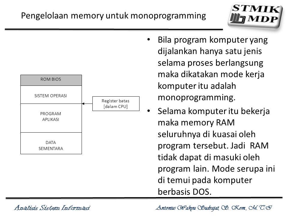 Analisis Sistem Informasi Antonius Wahyu Sudrajat, S. Kom., M.T.I Pengelolaan memory untuk monoprogramming Bila program komputer yang dijalankan hanya