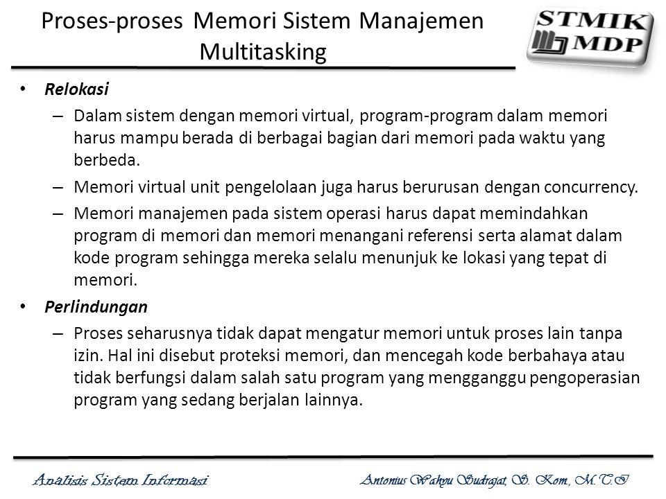 Analisis Sistem Informasi Antonius Wahyu Sudrajat, S. Kom., M.T.I Proses-proses Memori Sistem Manajemen Multitasking Relokasi – Dalam sistem dengan me
