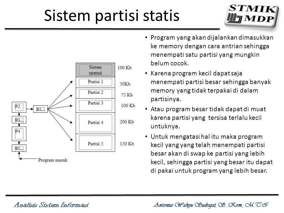 Analisis Sistem Informasi Antonius Wahyu Sudrajat, S. Kom., M.T.I Sistem partisi statis Program yang akan dijalankan dimasukkan ke memory dengan cara