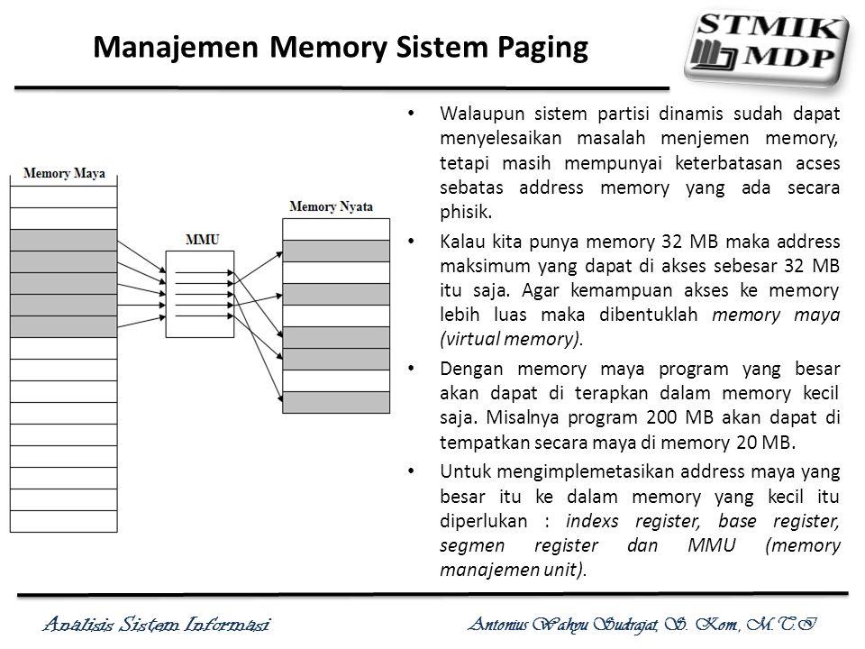 Analisis Sistem Informasi Antonius Wahyu Sudrajat, S. Kom., M.T.I Manajemen Memory Sistem Paging Walaupun sistem partisi dinamis sudah dapat menyelesa