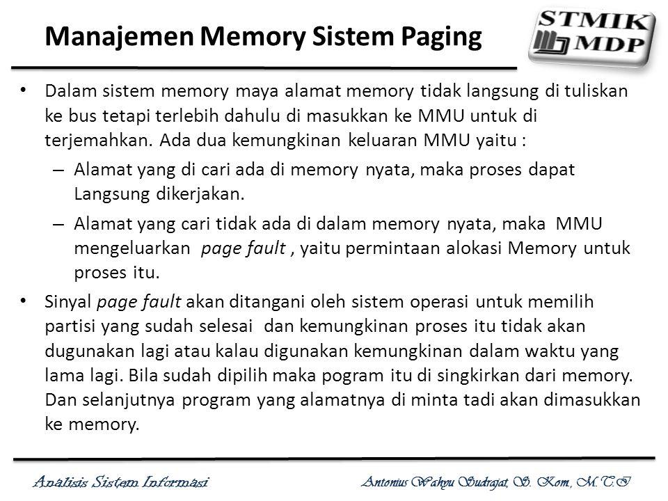 Analisis Sistem Informasi Antonius Wahyu Sudrajat, S. Kom., M.T.I Manajemen Memory Sistem Paging Dalam sistem memory maya alamat memory tidak langsung