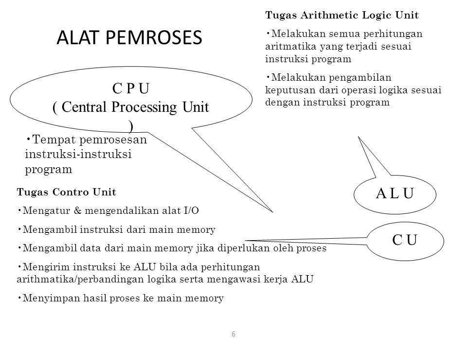 ALAT PEMROSES 6 C P U ( Central Processing Unit ) Tempat pemrosesan instruksi-instruksi program A L U C U Tugas Contro Unit Mengatur & mengendalikan a