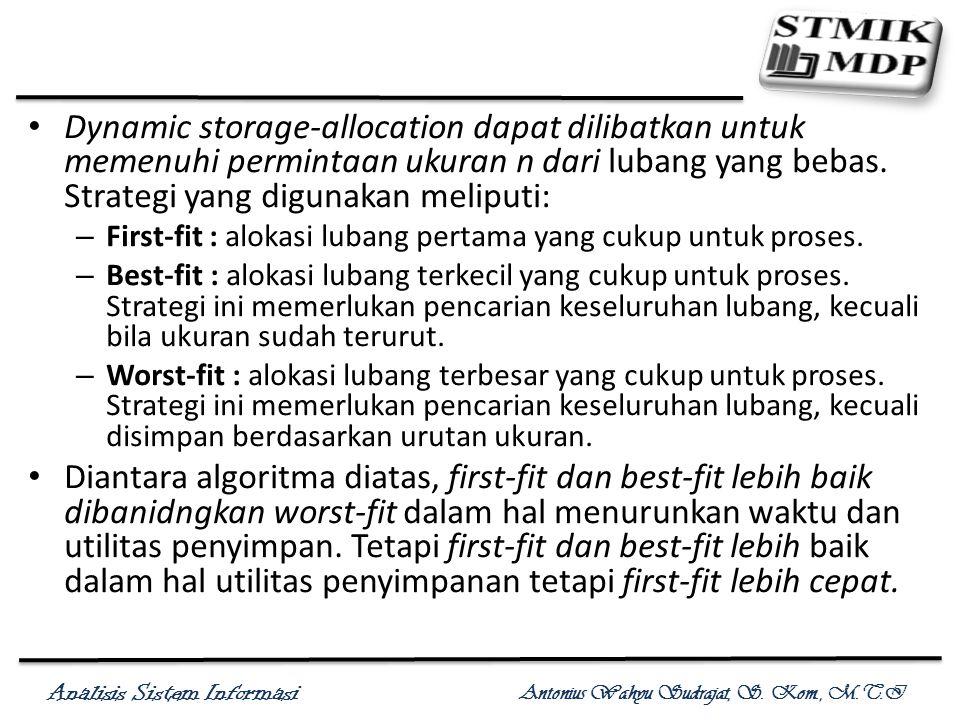 Analisis Sistem Informasi Antonius Wahyu Sudrajat, S. Kom., M.T.I Dynamic storage-allocation dapat dilibatkan untuk memenuhi permintaan ukuran n dari