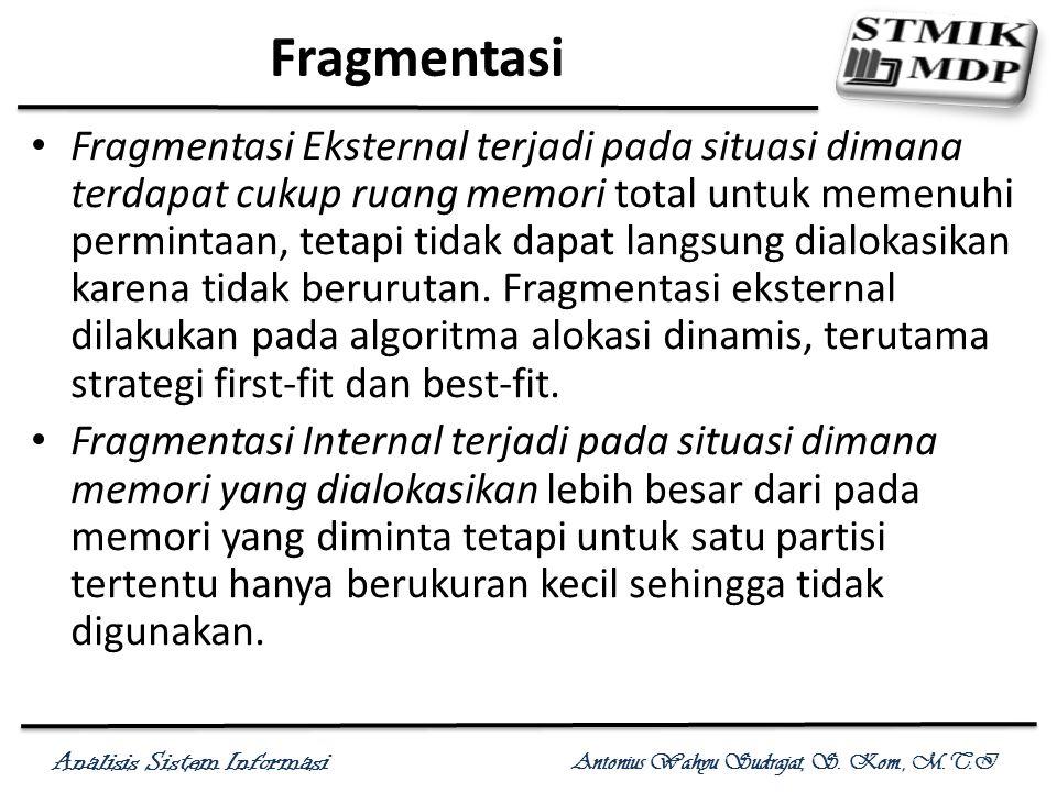Analisis Sistem Informasi Antonius Wahyu Sudrajat, S. Kom., M.T.I Fragmentasi Fragmentasi Eksternal terjadi pada situasi dimana terdapat cukup ruang m