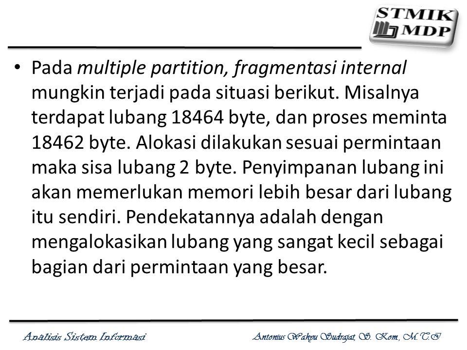 Analisis Sistem Informasi Antonius Wahyu Sudrajat, S. Kom., M.T.I Pada multiple partition, fragmentasi internal mungkin terjadi pada situasi berikut.