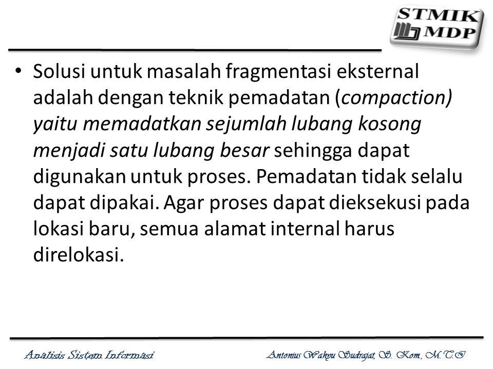 Analisis Sistem Informasi Antonius Wahyu Sudrajat, S. Kom., M.T.I Solusi untuk masalah fragmentasi eksternal adalah dengan teknik pemadatan (compactio