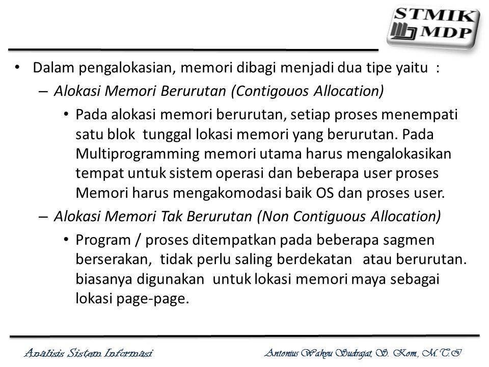 Analisis Sistem Informasi Antonius Wahyu Sudrajat, S. Kom., M.T.I Dalam pengalokasian, memori dibagi menjadi dua tipe yaitu : – Alokasi Memori Berurut