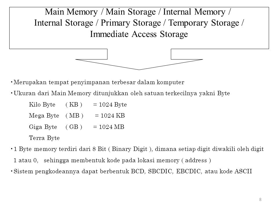 8 Main Memory / Main Storage / Internal Memory / Internal Storage / Primary Storage / Temporary Storage / Immediate Access Storage Merupakan tempat pe