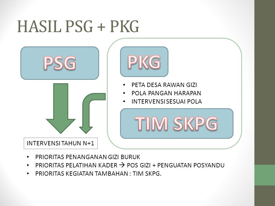 HASIL PSG + PKG INTERVENSI TAHUN N+1 PRIORITAS PENANGANAN GIZI BURUK PRIORITAS PELATIHAN KADER  POS GIZI + PENGUATAN POSYANDU PRIORITAS KEGIATAN TAMB
