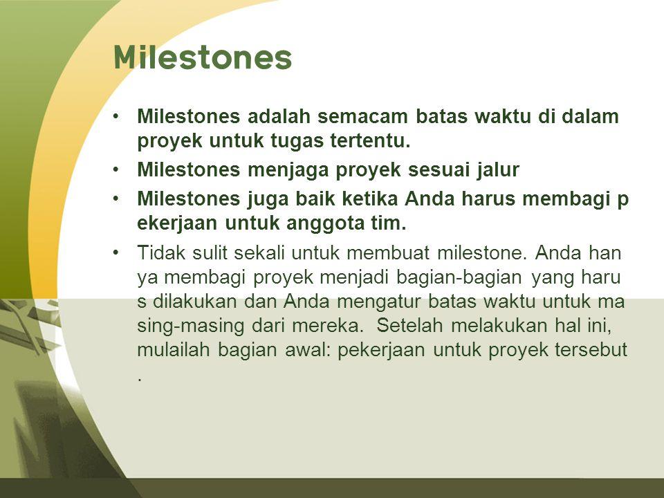 Milestones Milestones adalah semacam batas waktu di dalam proyek untuk tugas tertentu.