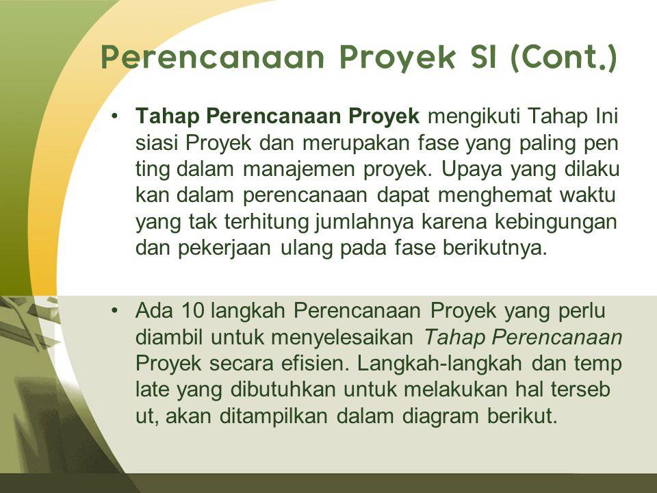 Perencanaan Proyek SI (Cont.) Tahap Perencanaan Proyek mengikuti Tahap Ini siasi Proyek dan merupakan fase yang paling pen ting dalam manajemen proyek.