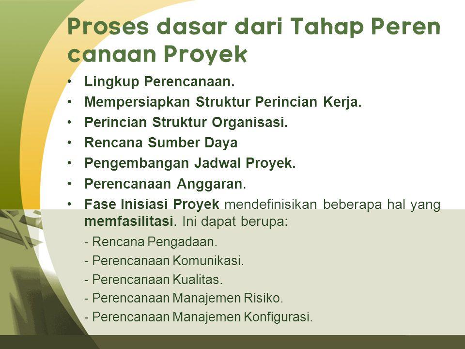 Proses dasar dari Tahap Peren canaan Proyek Lingkup Perencanaan.