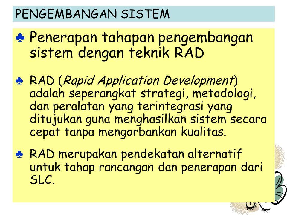 PENGEMBANGAN SISTEM ♣ Penerapan tahapan pengembangan sistem dengan teknik RAD ♣ RAD (Rapid Application Development) adalah seperangkat strategi, metod