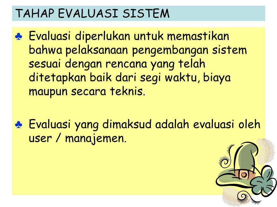 TAHAP EVALUASI SISTEM ♣ Evaluasi diperlukan untuk memastikan bahwa pelaksanaan pengembangan sistem sesuai dengan rencana yang telah ditetapkan baik da