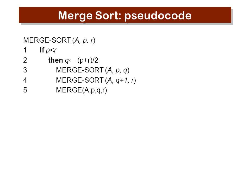 Merge Sort: pseudocode MERGE-SORT (A, p, r) 1 If p<r 2 then q← (p+r)/2 3 MERGE-SORT (A, p, q) 4 MERGE-SORT (A, q+1, r) 5 MERGE(A,p,q,r)