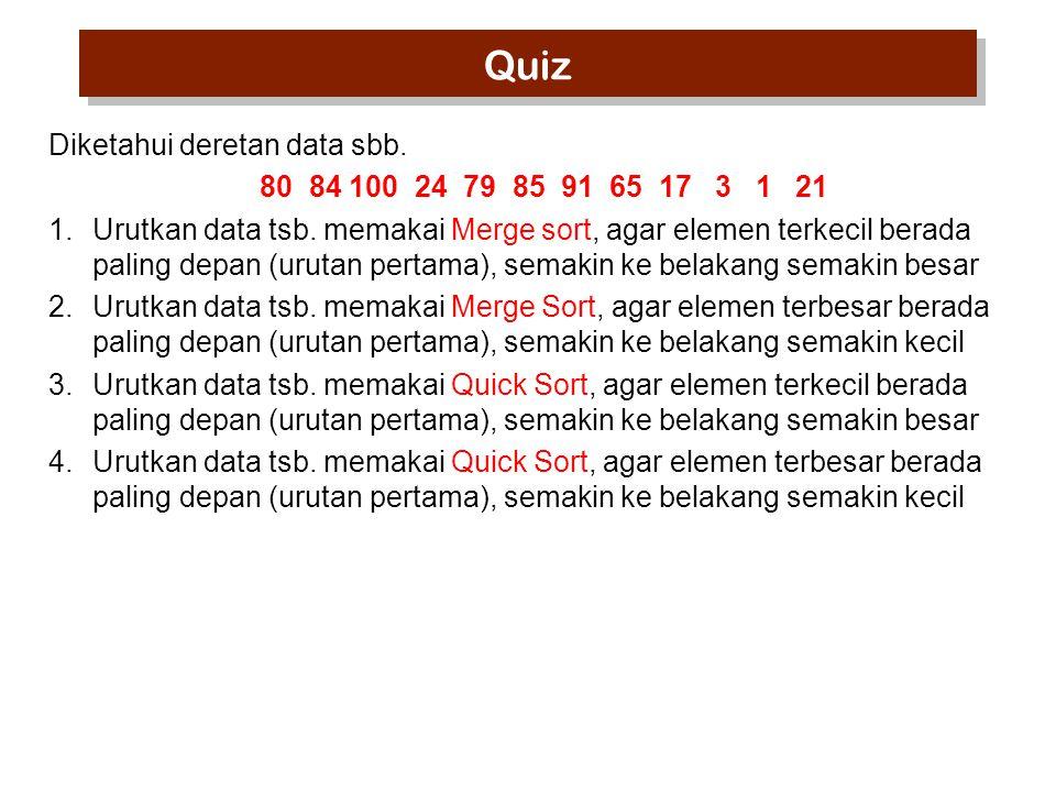 Quiz Diketahui deretan data sbb.80 84 100 24 79 85 91 65 17 3 1 21 1.Urutkan data tsb.