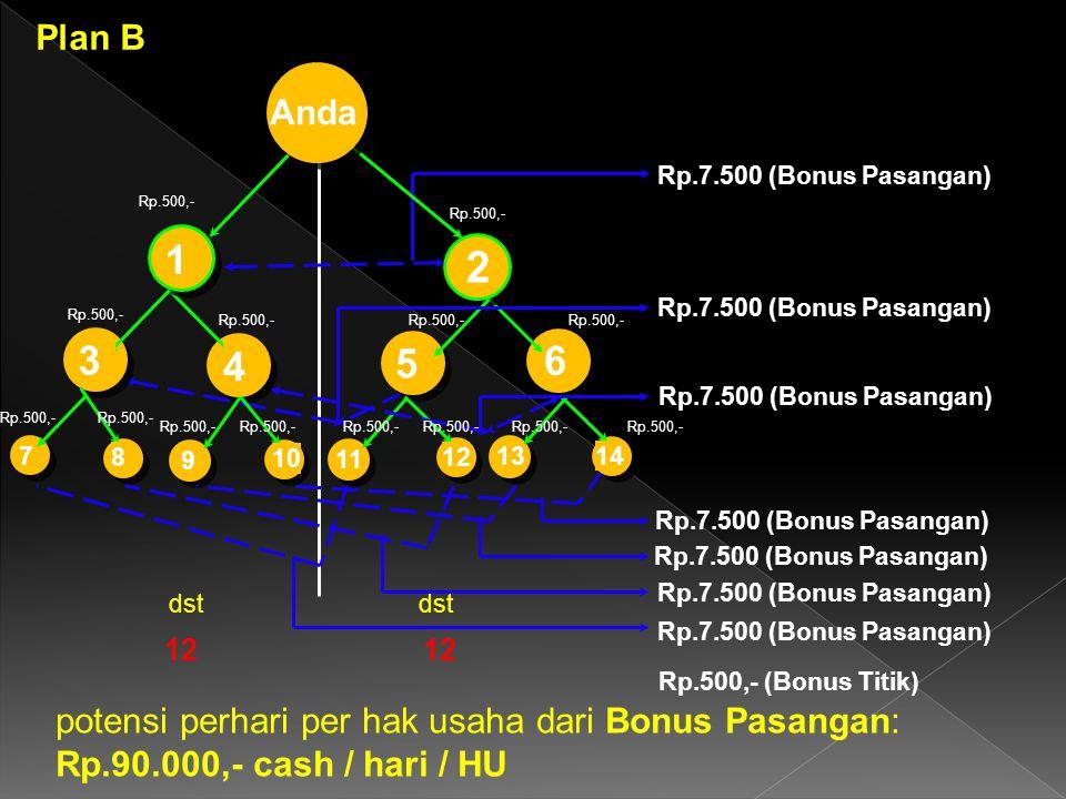 4 Rp.500,- (Bonus Titik) 12 potensi perhari per hak usaha dari Bonus Pasangan: Rp.90.000,- cash / hari / HU 6 1 2 dst 13 Anda 14 7 3 9 10 8 Rp.500,- 5 11 12 Rp.7.500 (Bonus Pasangan) Rp.500,- Plan B