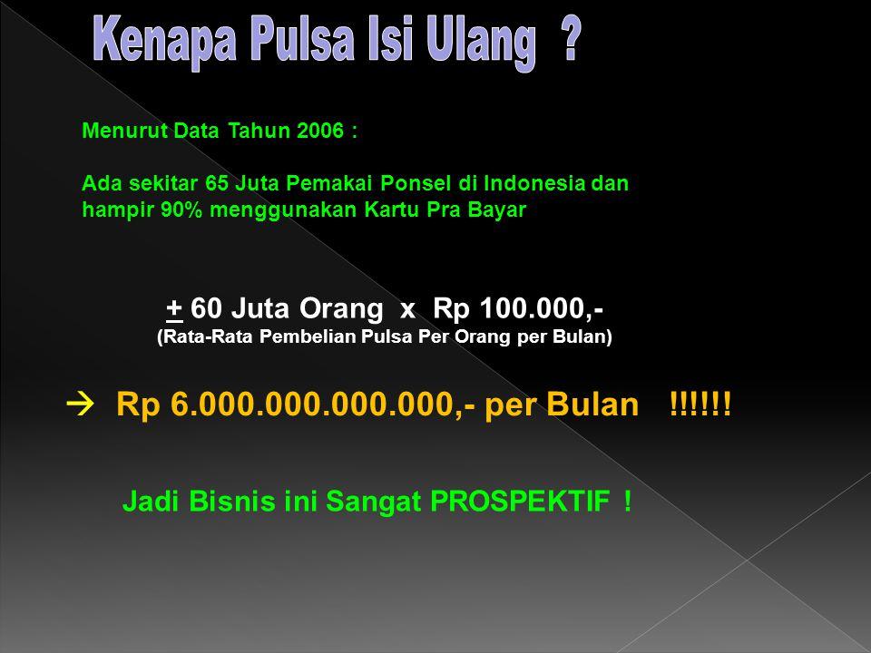 Menurut Data Tahun 2006 : Ada sekitar 65 Juta Pemakai Ponsel di Indonesia dan hampir 90% menggunakan Kartu Pra Bayar + 60 Juta Orang x Rp 100.000,- (Rata-Rata Pembelian Pulsa Per Orang per Bulan) Jadi Bisnis ini Sangat PROSPEKTIF .