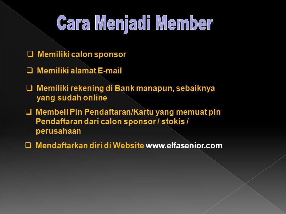  Memiliki calon sponsor  Memiliki alamat E-mail  Memiliki rekening di Bank manapun, sebaiknya yang sudah online  Membeli Pin Pendaftaran/Kartu yang memuat pin Pendaftaran dari calon sponsor / stokis / perusahaan  Mendaftarkan diri di Website www.elfasenior.com