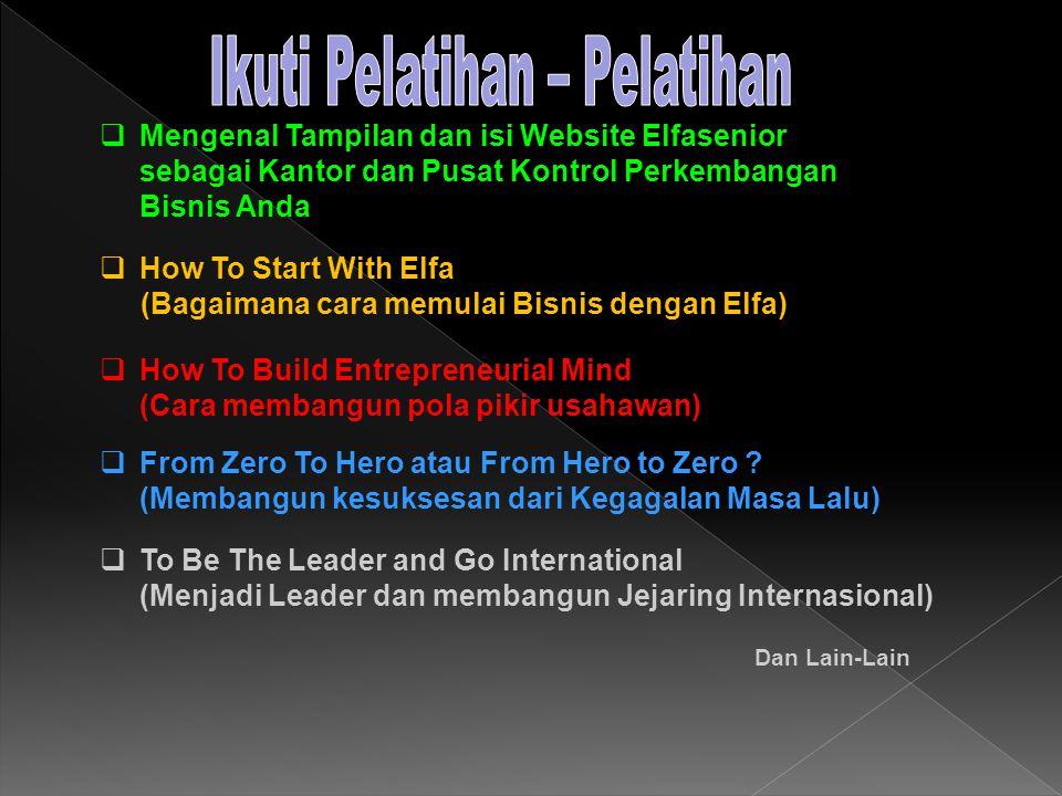  Mengenal Tampilan dan isi Website Elfasenior sebagai Kantor dan Pusat Kontrol Perkembangan Bisnis Anda  How To Start With Elfa (Bagaimana cara memulai Bisnis dengan Elfa)  How To Build Entrepreneurial Mind (Cara membangun pola pikir usahawan)  From Zero To Hero atau From Hero to Zero .