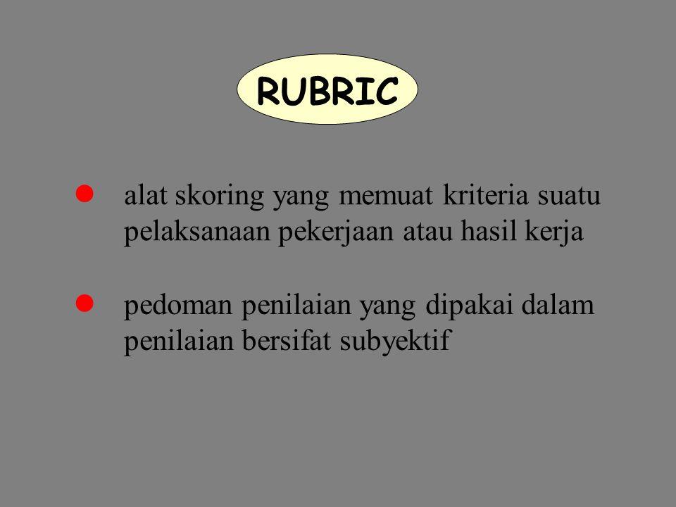 RUBRIC alat skoring yang memuat kriteria suatu pelaksanaan pekerjaan atau hasil kerja pedoman penilaian yang dipakai dalam penilaian bersifat subyektif