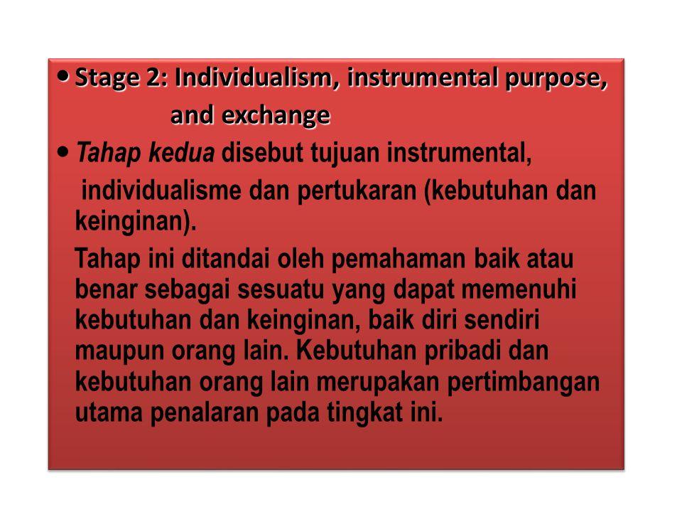 Stage 2: Individualism, instrumental purpose, Stage 2: Individualism, instrumental purpose, and exchange and exchange Tahap kedua disebut tujuan instr