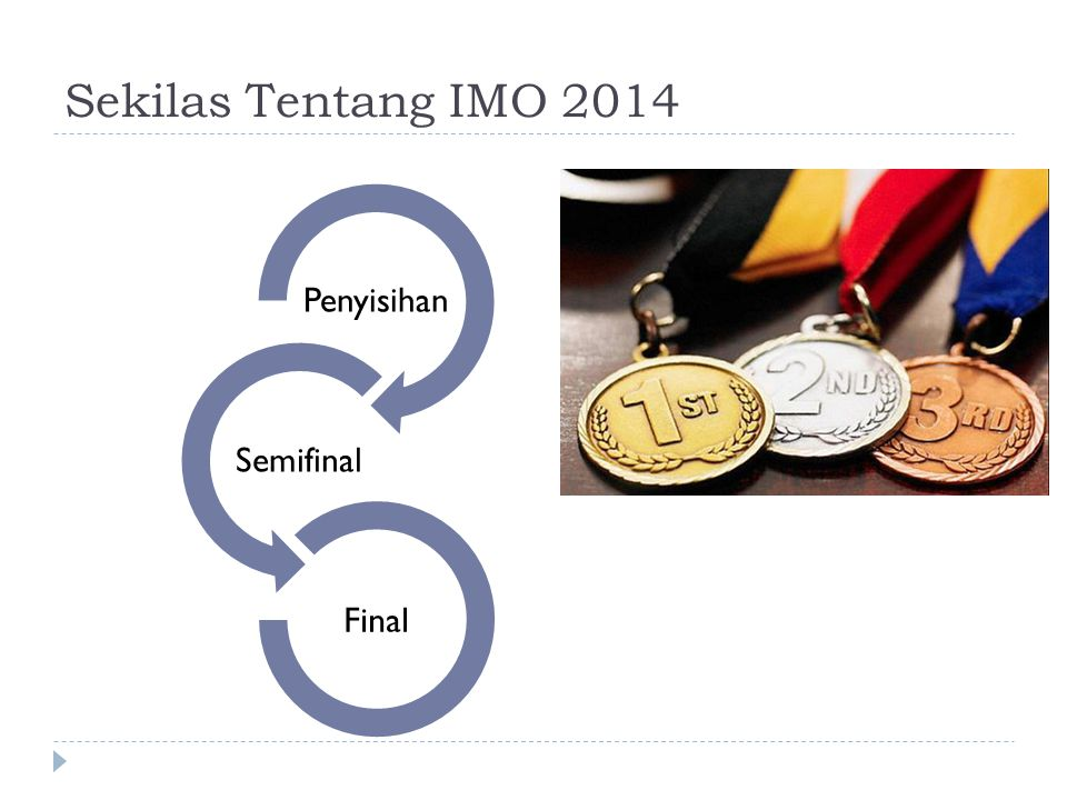 Sekilas Tentang IMO 2014 Penyisihan  Babak Multiple Choice Question (MCQ)  Babak Objective Structured Practical Examination (OSPE)