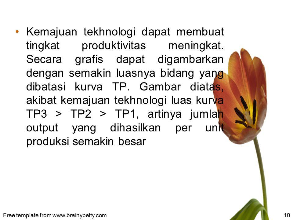 Kemajuan tekhnologi dapat membuat tingkat produktivitas meningkat. Secara grafis dapat digambarkan dengan semakin luasnya bidang yang dibatasi kurva T